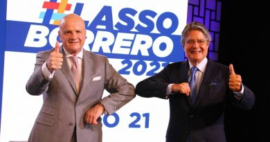 Right is Presidential candidate Guillermo Lasso, Left is his VP pick Alfredo Borrero (Photo: Ultima Hora)